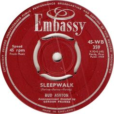 45-WB 359. Sleepwalk. Bud Ashton. 45.