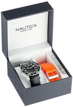 Nautica N11562G Unisex Watch NST 07 Box Set Black Strap Interchangeable Strap