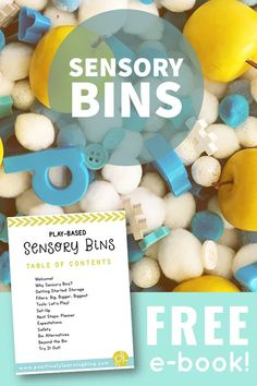 Free ebook all about using sensory bins in everyday learning! Practical suggestions for getting started with sensory play today! From Positively Learning #freesensorybins #sensoryplay