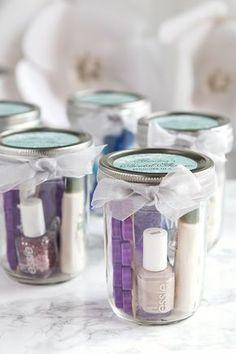 Pedicure in a Jar - Bridal Shower favor, easy simple party favor, cute mason jar favors,