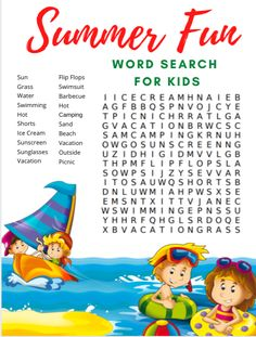 To help your family celebrate this summer season here is a Summer Word Search for Kids complete with an answer key if you need it. Summer Activities, Learning Activities, Family Activities, Kids Learning, Summer Words, Enjoying The Sun, Summer Fun, Free Summer, Worksheets For Kids