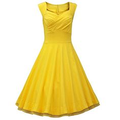 Artfasion Women Rockbilly Vintage Scoop Neckline Midi Swing Dress Party Dress (2XL, yellow) Artfasion