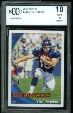 TIM TEBOW MINT BCCG 10 Topps Rookie Card by Topps. $24.95. 2010 Topps #440 Tim Tebow Rookie Card graded MINT 10 by Beckett (BCCG)