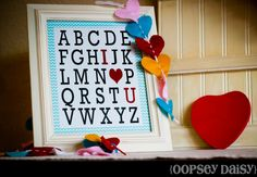website includes free printable.  lots of ideas of how to use this adorable alphabet.  I wanna frame it for each of the boys for v-day.