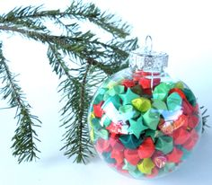 Red and Green Origami Stars Ornament. $30.00, via Etsy.