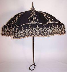 parasol 1860 | ... Black Cotton Ecru Embroidered Carved Ebony Handle Summer Parasol