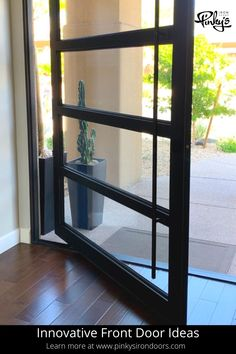 Steel pivot doors that will blow your mind - Pinky's Iron Doors #pivotdoors #irondoors #steeldoors #modernhome #architecture Pivot Doors, Entry Doors, Steel Doors And Windows, Iron Front Door, Wrought Iron Doors, Patio Doors, Door Ideas, Door Design, Remodeling