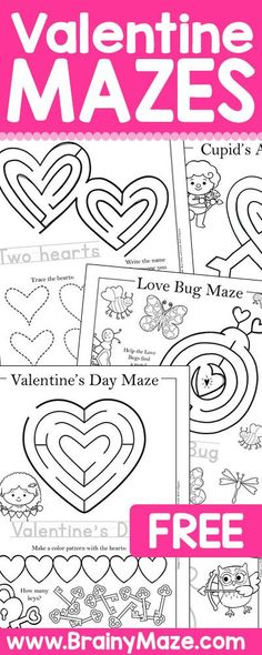 Free printable Valentine's Day mazes and activity pages for kids! This collection includes hearts, love bugs, valentine's day letters and of course Cupid! Each activity sheet includes a fun maze, handwriting practice, and a fun challenge or follow-up activity. Valentine's Day Mazes https://brainymaze.com/holiday-mazes/valentines-day-mazes/?utm_campaign=coschedule&utm_source=pinterest&utm_medium=Valerie&utm_content=Valentine's Day Mazes