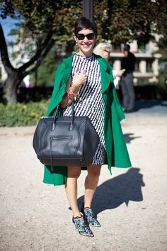 STREET STYLE SPRING 2013: PARIS FASHION WEEK - Embroidered and embossed Nicholas Kirkwood shoes up the luxe factor in this easy day look. I am loving this look!