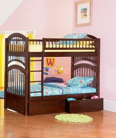Windsor Antique Walnut Twin over Twin Bunk Bed with Flat Panel Storage Drawers - Atlantic Furniture