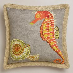 One of my favorite discoveries at WorldMarket.com: Seahorse with Jute Outdoor Throw Pillow