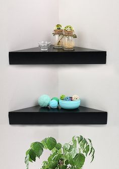 Made of MDF & Laminate Black color to fit any décor, A pack of 2 Shelves No visible connectors or hanging hardware Dimensions: x x Side x x Black Corner Shelf, Corner Wall Shelves, Shelving Solutions, Beauty Room, Contemporary Furniture, Floating Shelves, Salon Ideas, Doctors, Rum