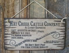 Hat Creek Cattle Company & Livery Emporium, Lonesome Dove Sign, Western, Antiqued, Wooden Sign on Etsy, $36.00