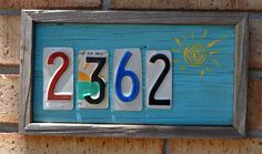 License Plate House Numbers - Four Digits - License Plate Art - Home Address - Rustic House Numbers