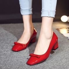 Women'S Chuncky Blcok Heel Square Toe Bnowknot Slip On Office Pumps Shoes