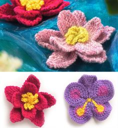 Knitting lovers we have something special for you! 10 totally free patterns for beautiful, spring perfect knitted flowers are waiting for you bellow. Loom Knitting, Baby Knitting Patterns, Knitting Stitches, Free Knitting, Crochet Patterns, Stitch Patterns, Knitted Flower Pattern, Knitted Flowers, Flower Patterns