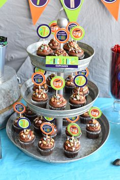 """""""Rockslide"""" chocolate cupcakes for a climbing gym birthday party"""