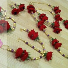 flowers n pearls jewellery for mehendi