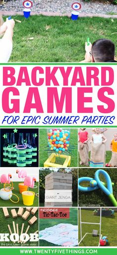 25 DIY Backyard Party Games for Family Fun - Fun Loving Families - Make your own backyard party games and have the best party ever this summer. These are fun, family-friendly games for your neighborhood potluck, of July party, or big family gatherings. Summer Party Games, Backyard Party Games, Diy Party Games, Outdoor Party Games, Backyard For Kids, Diy Games, Summer Parties, Party Crafts, Summer Bash