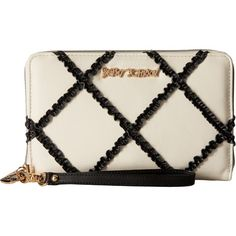 Betsey Johnson Cross Your Heart Large Wallet (Black/White) Wallet... ($53) ❤ liked on Polyvore featuring bags, wallets, black, zipper bag, zipper wallet, zip handle bags, black and white wallet and credit card holder wallet