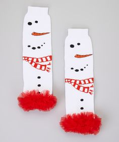 White & Red Snowman Ruffle Leg Warmers