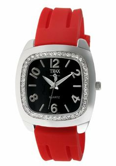 Trax Women's TR1740-BR Malibu Fun Red Rubber Black Dial Crystal Watch Trax. $29.99. Easy read large dial with silver-tone Arabic numerals. Water-resistant to 99 feet (30 M). Stainless steel case-back. Comfortable rubber strap. Cushion shaped case studded with clear crystals. Save 50% Off!