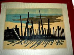 42831 527j $49,999 or best offer-ESTATE WALL DECOR WORKS ON PAPER SCREENED ARTIST SIGNED TITLE PILINGS 9 OF 25 HILBOCK - IMAGE SIZE 17 X 11 INCH-free ship worldwide a