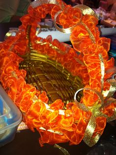 Basket decorated by me using tissue fabric and decorated it with ribbons and pearlss...