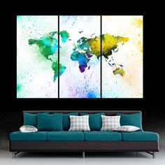 Colorful paint World Map 3 Panel Split Canvas by SHOPCANVAS