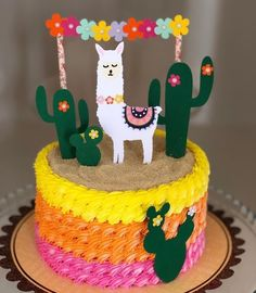 First Birthday Parties, Birthday Party Themes, First Birthdays, Fiesta Cake, Fiesta Party, Llama Birthday, Girl Birthday, Mexican Party, Cute Cakes