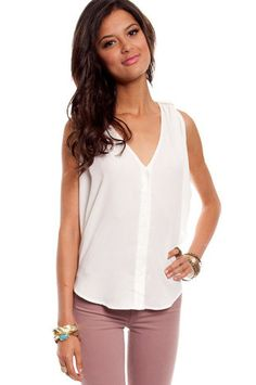 Twist and Turns Top in Ivory $30 at www.tobi.com