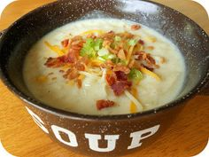 Loaded Potato Soup Recipe - uses potatoes,  carrots, heavy cream, 1lb bacon.