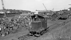 Providence, Rhode Island, 1950-1955 Train cab on track at the Bartlett Scrap Iron Company in East Providence, Rhode Island, some time between 1950 and 1955.  Photography by Leo King, © 2016, Center for Railroad Photography and Art. King-01-093-002