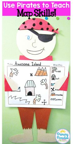 Teach Map skills in your social studies social skills unit for kindergarten, first, second or third grades with this fun interactive pirate pack! Perfect for talk like a pirate day!