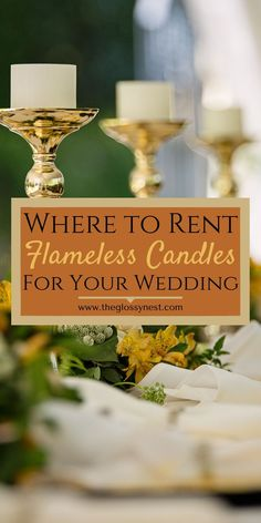 Many wedding venues don't allow real candles. LED candles can be expensive to buy in bulk. Learn where to rent flameless candles for weddings & events. Battery Candles, Flameless Candles, Taper Candles, Candle Wedding Centerpieces, Tall Centerpiece, Reception Decorations, Sweet Buffet, Unity Candle, Romantic Weddings