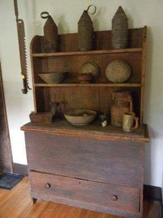 What a way to transform a blanket chest into a full wall cupboard. Primitive Cabinets, Old Cabinets, Primitive Furniture, Country Furniture, Home Furniture, Cupboards, Antique Furniture, Primitive Bedding, Medieval Furniture
