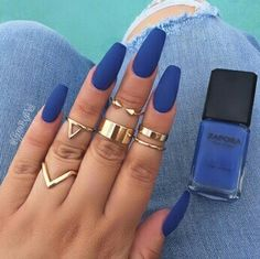 Imagine nails, blue, and rings