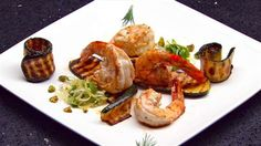 Prawns with Chargrilled Zucchini and Leek and Olive Salad Master Chef, I Love Food, Good Food, Yummy Food, Masterchef Recipes, Lobster Salad, Masterchef Australia, Olive Salad, Gourmet