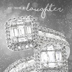 This white gold bypass ring with round and emerald cut diamonds is two-times-perfect.