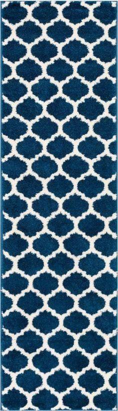 Zoe Blue Modern Trellis Rug