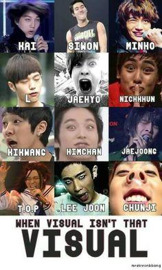 When visual isn't that visual.TOP / KAI / SIWON / MINHO / L / JAEHYO / NICKKHUN / KIKWANG / HIMCHAN / JAEJOONG / LEE JOON / CHUNJI ♡