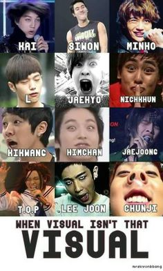 When visual isn't that visual.TOP / KAI / SIWON / MINHO / L / JAEHYO / NICKKHUN / KIKWANG / HIMCHAN / JAEJOONG / LEE JOON / CHUNJI ♡