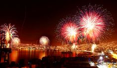 Fireworks in Valparaiso, Chile.
