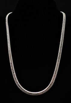 "Vintage Sterling Silver Detailed Design Herringbone Necklace 18"" Chain Jewelry"