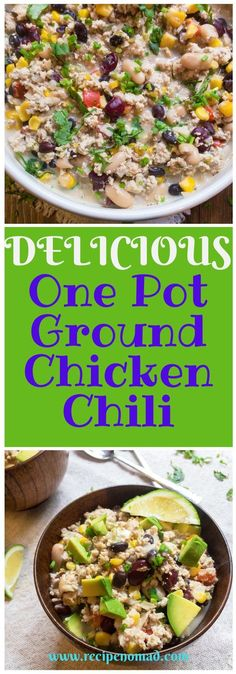 One-Pot Ground Chicken Chili   Recipe Nomad This recipe for Ground Chicken Chili is to die for! Made with ground chicken, 3 different kinds of beans and of course a brick of cream cheese it's the perfect fall dinner!