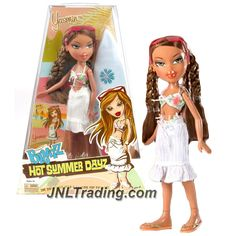 MGA Entertainment Bratz Hot Summer Dayz Series 10 Inch Doll - YASMIN in Swimsuit with White Swimsuit Cover, Surfboard and Hairbrush