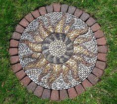 Mosaic stepping stones, pebble mosaic, stone mosaic, mosaic art, backyard c Mosaic Rocks, Mosaic Stepping Stones, Pebble Mosaic, Stone Mosaic, Pebble Art, Mosaic Art, Mosaic Glass, Backyard Walkway, Backyard Landscaping