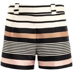 Raoul Border stripe silk shorts ($321) ❤ liked on Polyvore