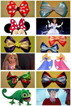 bows for sale modeled after your favorite disney characters :)