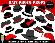 PRINTABLE Hats Photo Booth Props-Printable Hat Photo Props-Hats Props-Ladies Hats-ladie Hat-Man Hat-Men Hats-Classic Props-Generic Props-Different Hats-Instant Download